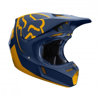 Casque Cross FOX V3 Kila Navy Jaune