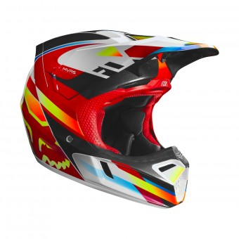 Casque Cross FOX V3 Motif Rouge Jaune