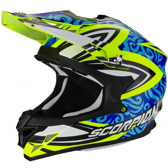 Casque Cross Scorpion VX-15 Evo Air Revenge Neon Yellow Blue