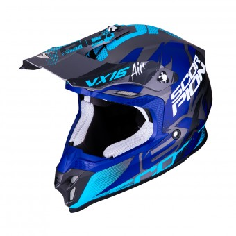Casque Cross Scorpion VX-16 Air Albion Argent Mat Bleu