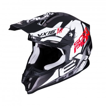 Casque Cross Scorpion VX-16 Air Albion Noir Mat Blanc