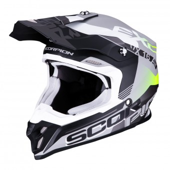 Casque Cross Scorpion VX-16 Air Arhus Argent Mat Noir Jaune Fluo