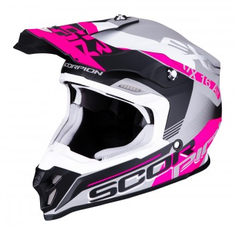 Casque Cross Scorpion VX-16 Air Arhus Argent Mat Noir Rose