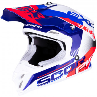 Casque Cross Scorpion VX-16 Air Arhus Blanc Bleu Rouge Fluo