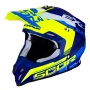 Casque Cross Scorpion VX-16 Air Arhus Bleu Mat Jaune Fluo