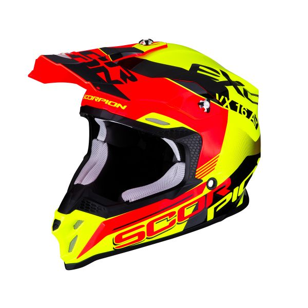 Casque Cross Scorpion VX-16 Air Arhus Jaune Rouge Fluo