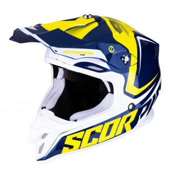 Casque Cross Scorpion VX-16 Air Ernee Bleu Jaune Blanc