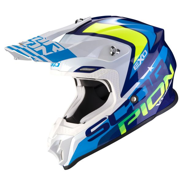 Casque Cross Scorpion VX-16 Air Nation White Neon Yellow