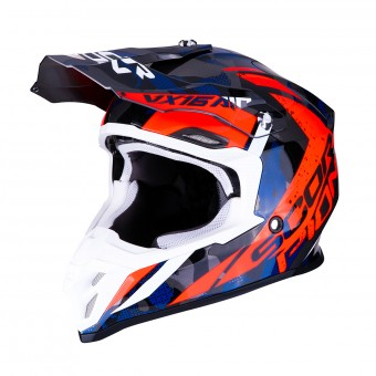 Casque Cross Scorpion VX-16 Air Waka Argent Rouge Bleu