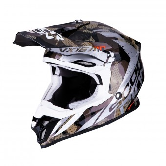 Casque Cross Scorpion VX-16 Air Waka Noir Argent