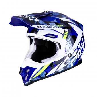 Casque Cross Scorpion VX-16 Air Waka Noir Blanc Bleu