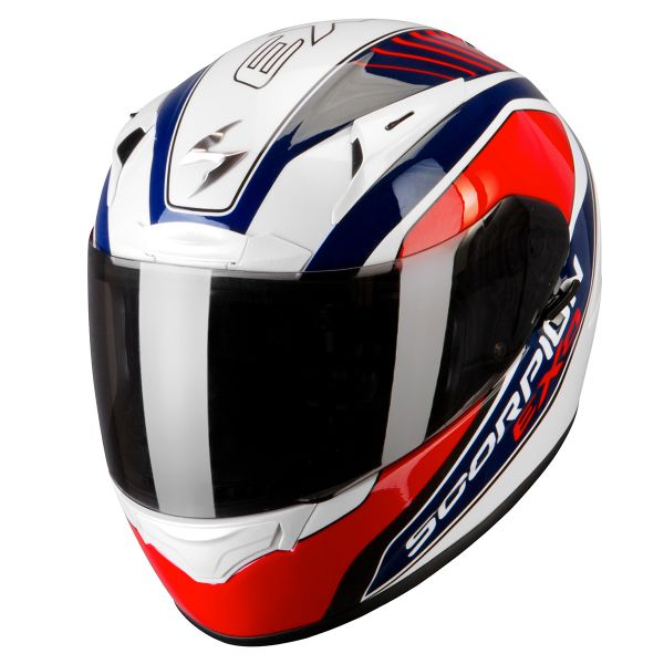 Casque Integral Scorpion EXO 2000 Air Performer Blanc Nacre Bleu Rouge