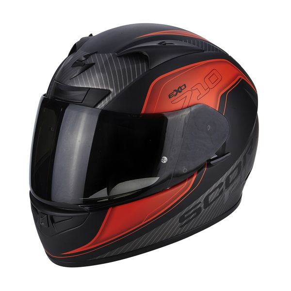 Casque Integral Scorpion EXO 710 Air Mugello Matt Black Neon Red Silver