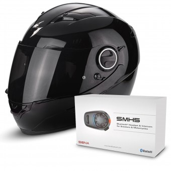 Casque Integral Scorpion Exo 490 Black + Kit Bluetooth Sena SMH5