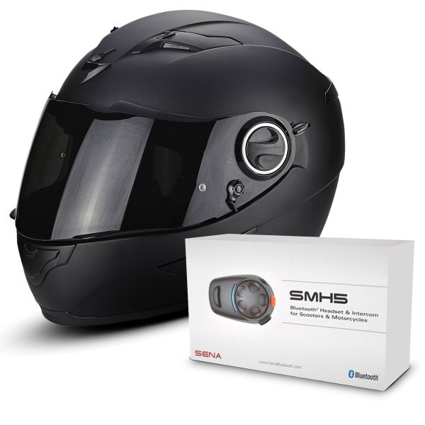 Casque Integral Scorpion Exo 490 Matt Black + Kit Bluetooth Sena SMH5