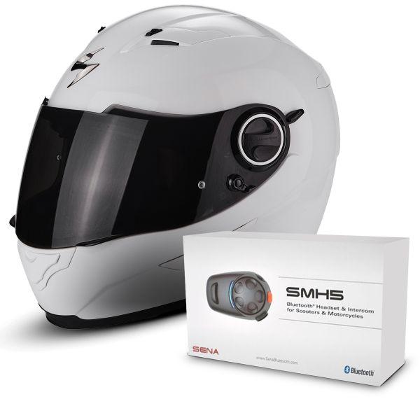 Casque Integral Scorpion Exo 490 White + Kit Bluetooth Sena SMH5
