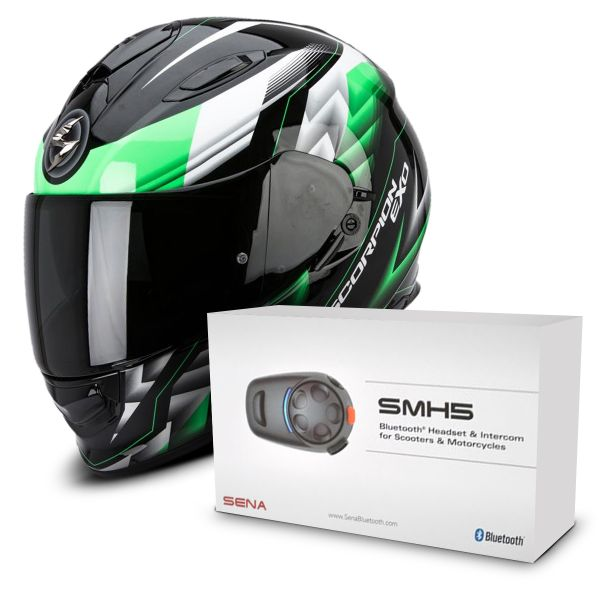 Casque Integral Scorpion Exo 510 Air Scale Black Green + Kit Bluetooth Sena SMH5 Solo