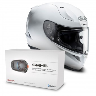 Casque Integral HJC RPHA 11 Pearl White + Kit Bluetooth Sena SMH5 Solo