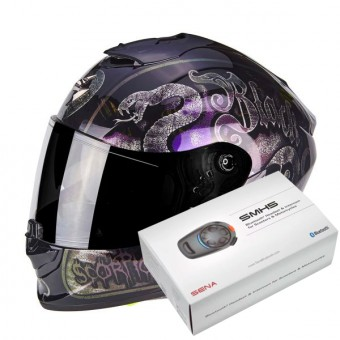 Casque Integral Scorpion Exo 1400 Air Blackspell Chameleon Black + Kit Bluetooth Sena SMH5