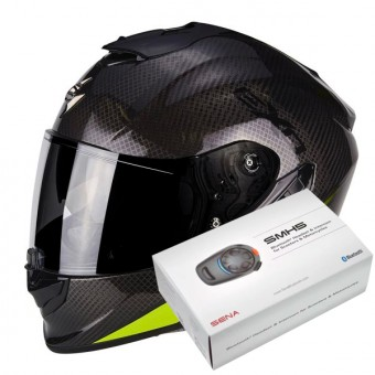 Casque Integral Scorpion Exo 1400 Air Carbon Pure Neon Yellow + Kit Bluetooth Sena SMH5