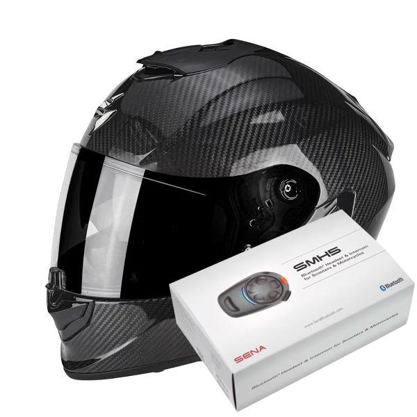 Casque Integral Scorpion Exo 1400 Air Carbon Solid + Kit Bluetooth Sena SMH5