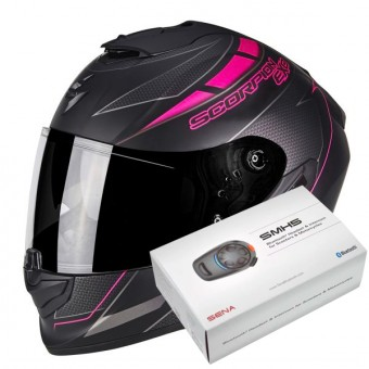 Casque Integral Scorpion Exo 1400 Air Cup Matt Black Chameleon Pink + Kit Bluetooth Sena SMH5