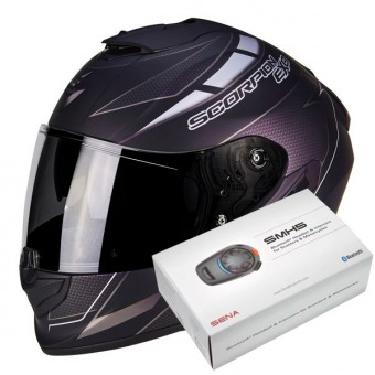 Casque Integral Scorpion Exo 1400 Air Cup Matt Black Chameleon Silver + Kit Bluetooth Sena SMH5