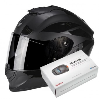 Casque Integral Scorpion Exo 1400 Air Freeway II Matt Black + Kit Bluetooth Sena SMH5