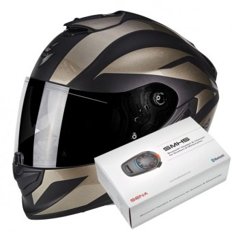Casque Integral Scorpion Exo 1400 Air Freeway II Matt Black Titanium + Kit Bluetooth Sena SMH5