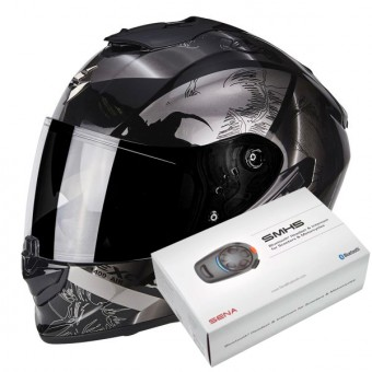 Casque Integral Scorpion Exo 1400 Air Patch Black Silver + Kit Bluetooth Sena SMH5