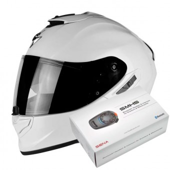 Casque Integral Scorpion Exo 1400 Air Pearl White + Kit Bluetooth Sena SMH5
