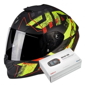 Casque Integral Scorpion Exo 1400 Air Picta Matt Black Neon Yellow + Kit Bluetooth Sena SMH5