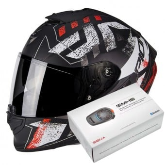 Casque Integral Scorpion Exo 1400 Air Picta Matt Black Neon Red + Kit Bluetooth Sena SMH5