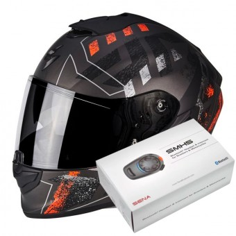 Casque Integral Scorpion Exo 1400 Air Picta Matt Silver Orange + Kit Bluetooth Sena SMH5