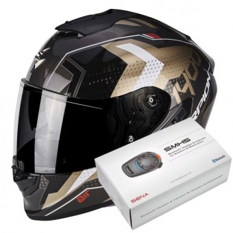 Casque Integral Scorpion Exo 1400 Air Trika Gold Black + Kit Bluetooth Sena SMH5