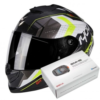 Casque Integral Scorpion Exo 1400 Air Trika White Black Neon Yellow + Kit Bluetooth Sena SMH5