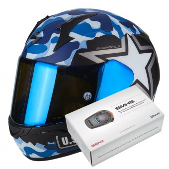 Casque Integral Scorpion Exo 390 Army Matt Black Blue + Kit Bluetooth Sena SMH5