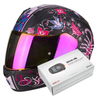 Casque Integral Scorpion Exo 390 Chica Matt Black Pink + Kit Bluetooth Sena SMH5