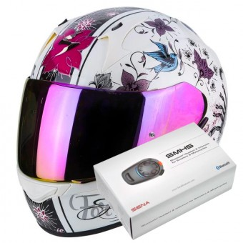 Casque Integral Scorpion Exo 390 Chica Pearl White Black + Kit Bluetooth Sena SMH5