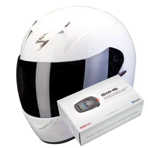 casque scorpion exo 390 white kit bluetooth sena smh5 en stock. Black Bedroom Furniture Sets. Home Design Ideas