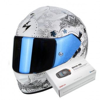 Casque Integral Scorpion Exo 510 Air Azalea Pearl White Silver + Kit Bluetooth Sena SMH5