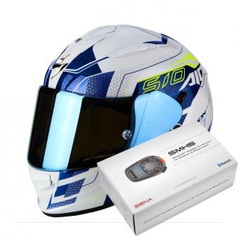 Casque Integral Scorpion Exo 510 Air Galva Pearl White Blue + Kit Bluetooth Sena SMH5