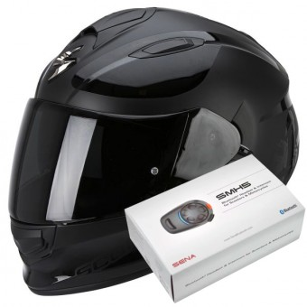 Casque Integral Scorpion Exo 510 Air Sublim Matt Black Chrome + Kit Bluetooth Sena SMH5