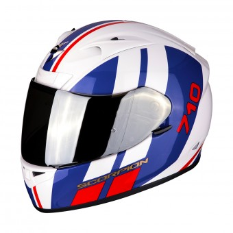 Casque Integral Scorpion Exo 710 Air GT Blanc Bleu Rouge