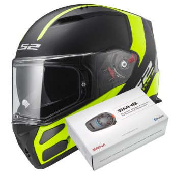 Casque Integral LS2 Metro Evo Solid Black FF324 + Kit Bluetooth Sena SMH5