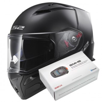 Casque Integral LS2 Metro Evo Solid Matt Black FF324 + Kit Bluetooth Sena SMH5