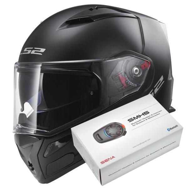 Casque Ls2 Metro Evo Solid Matt Black Ff324 Kit Bluetooth Sena