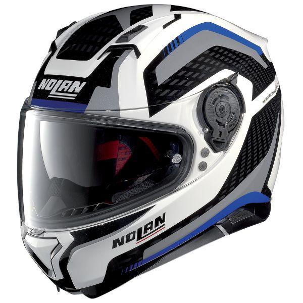 Casque Integral Nolan N87 Arkad N-Com White Blue Grey 44