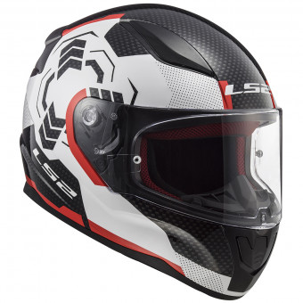 Casque Integral LS2 Rapid Ghost White Black Red FF353