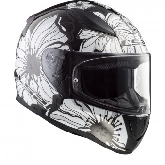 Casque Integral LS2 Rapid Poppies Black White FF353